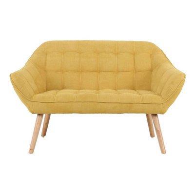 Canapé 2 places 127x75x76 cm en tissu suédine jaune - MARKO