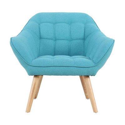 Fauteuil 82x75x75 cm en tissu bleu - MARKO