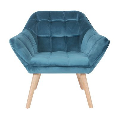 Fauteuil 82x75x75 cm en tissu velours bleu - MARKO