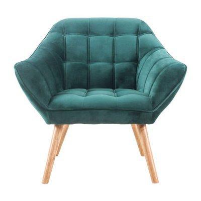 Fauteuil 82x75x75 cm en tissu velours bleu canard - MARKO