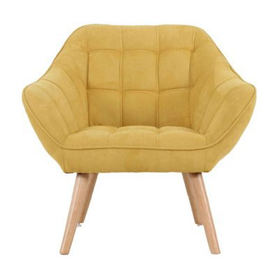 Fauteuil 82x75x75 cm en tissu suédine jaune - MARKO