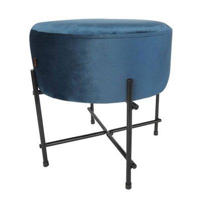 Pouf 39x39x40 cm en velours bleu et métal - ALEXIS