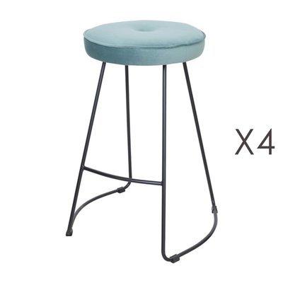 Lot de 4 tabourets de bar 45x50x68 cm en velours vert eau - TROGEN