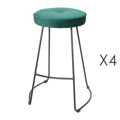 Lot de 4 tabourets de bar 45x50x68 cm en velours vert foncé - TROGEN