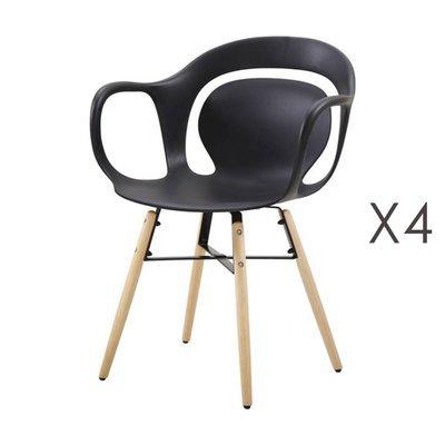Lot de 4 chaises de repas 60x60x81 cm noir et pieds naturels - MELKY