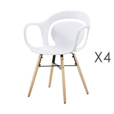 Lot de 4 chaises de repas 60x60x81 cm blanc et pieds naturels - MELKY