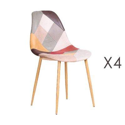 Lot de 4 chaises repas 58x46x83 cm en patchwork