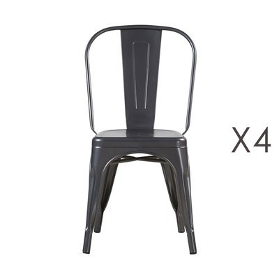 Lot de 4 chaises 35x35x84 cm en métal anthracite - ARTY
