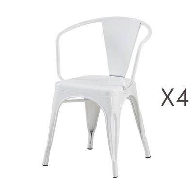 Lot de 4 fauteuils 36x36x73 cm en métal blanc - ARTY