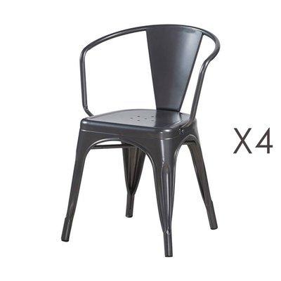 Lot de 4 fauteuils 36x36x73 cm en métal anthracite - ARTY