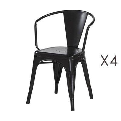 Lot de 4 fauteuils 36x36x73 cm en métal noir - ARTY