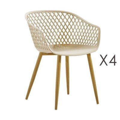 Lot de 4 fauteuils 61x56x78 cm beige et pieds naturels - SALMA
