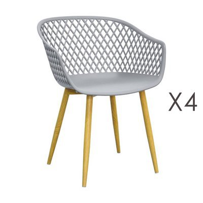 Lot de 4 fauteuils 61x56x78 cm gris et pieds naturels - SALMA