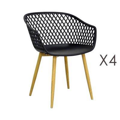 Lot de 4 fauteuils 61x56x78 cm noir et pieds naturels - SALMA