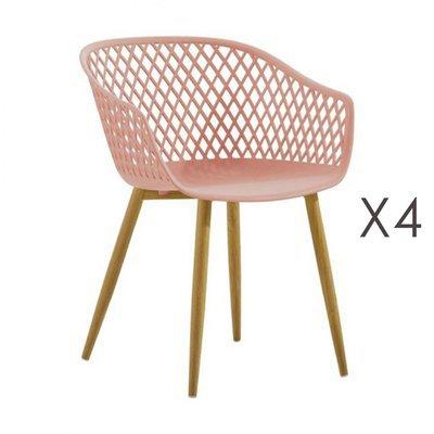 Lot de 4 fauteuils 61x56x78 cm rose et pieds naturels - SALMA