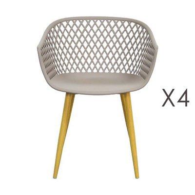 Lot de 4 fauteuils 61x56x78 cm taupe et pieds naturels - SALMA
