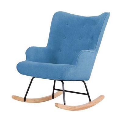 Fauteuil à bascule 68x92x100 cm en tissu bleu - JOFFRY