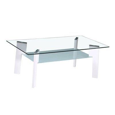 Table basse 110 cm double plateau en verre et pieds blanc - STREY