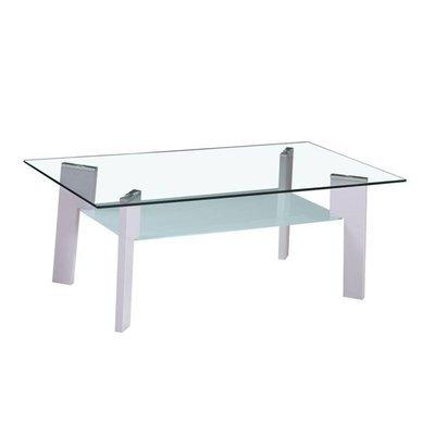 Table basse 110 cm double plateau en verre et pieds gris - STREY