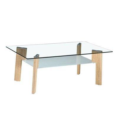 Table basse 110 cm double plateau en verre et pieds naturel - STREY