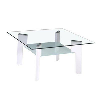 Table basse 80 cm double plateau en verre et pieds blanc - STREY