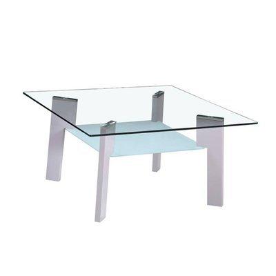 Table basse 80 cm double plateau en verre et pieds gris - STREY