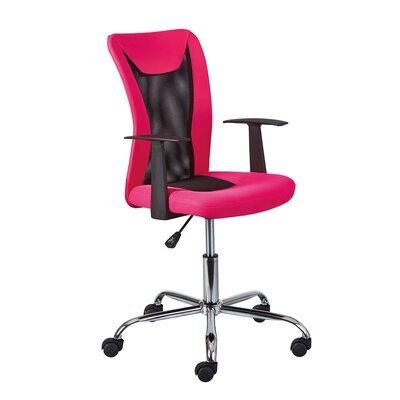 Chaise de bureau enfant avec accoudoirs rose et noir - CHILD