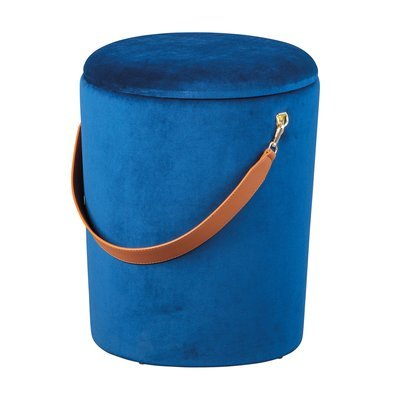 Pouf avec rangement 35x35x45 cm en velours bleu - DILIA