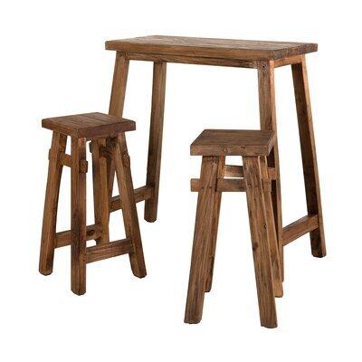 Table haute et 2 tabourets en bois exotique - ALMON