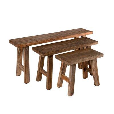 Lot de 3 bancs 118/85/52 cm en bois exotique - ALMON