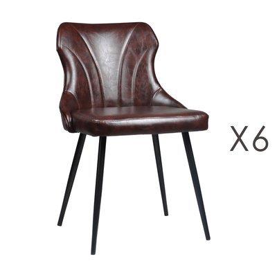 Lot de 6 chaises 48x55x76 cm en PU marron - NAVY
