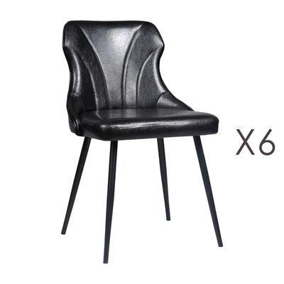 Lot de 6 chaises 48x55x76 cm en PU noir - NAVY