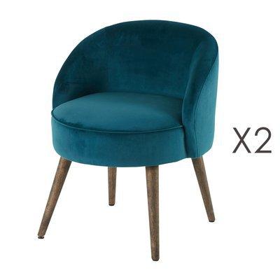 Lot de 2 fauteuils 54x54x64 cm en velours bleu canard - HONY