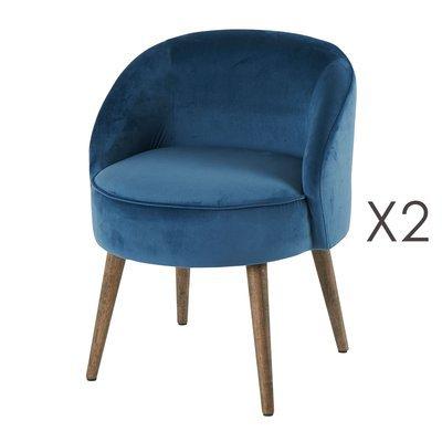 Lot de 2 fauteuils 54x54x64 cm en velours bleu - HONY