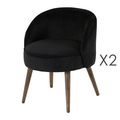 Lot de 2 fauteuils 54x54x64 cm en velours noir - HONY