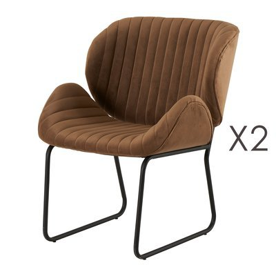 Lot de 2 chaises repas 65,5x58x82,5 cm en velours marron - KATY