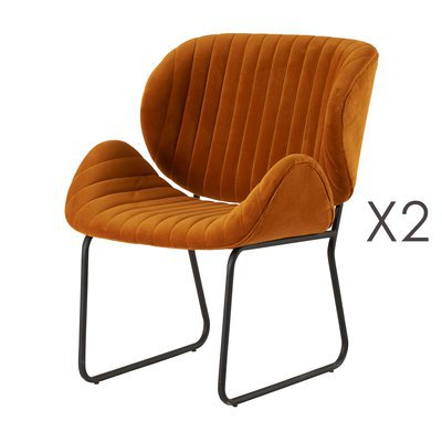 Lot de 2 chaises repas 65,5x58x82,5 cm en velours or - KATY