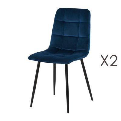 Lot de 2 chaises 41x38x89 cm en velours bleu - PUNTY