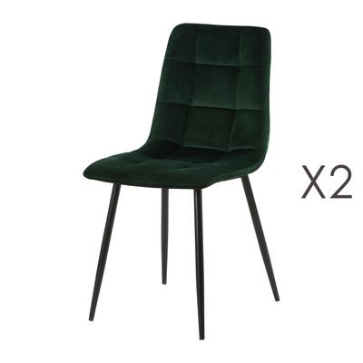 Lot de 2 chaises 41x38x89 cm en velours vert - PUNTY