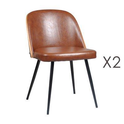 Lot de 2 chaises 48,5x55x76 cm en PU camel - NAVY