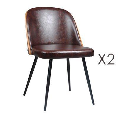 Lot de 2 chaises 48,5x55x76 cm en PU marron - NAVY