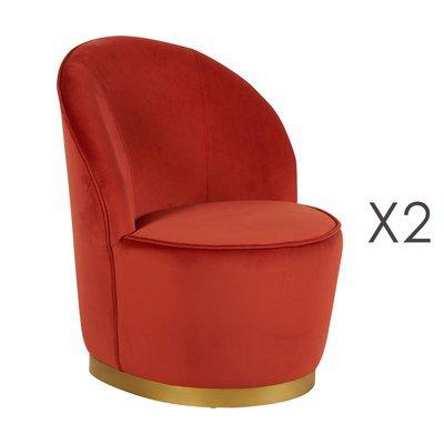 Lot de 2 fauteuils 58x58x69 cm en velours orange - TIAGO