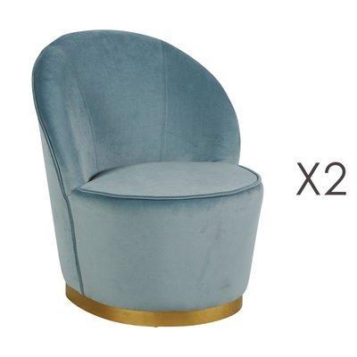 Lot de 2 fauteuils 58x58x69 cm en velours bleu - TIAGO