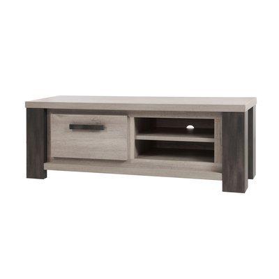 Meuble TV 1 tiroir 146x49x52 cm chêne et noir - ROBIN