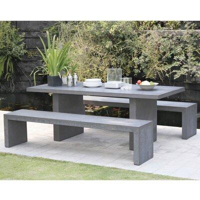 Ensemble table de jardin + 2 bancs en béton - BETTY