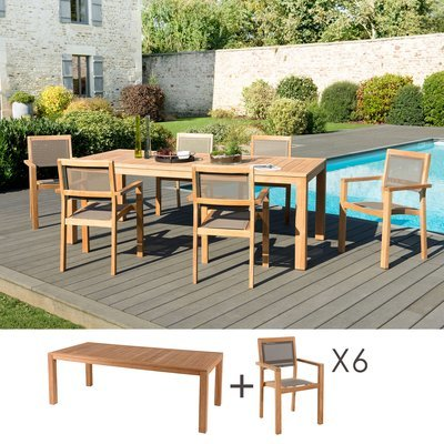 Ensemble en teck table pieds carrés + 6 fauteuils- GARDENA