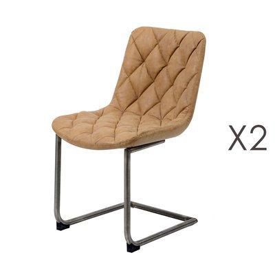 Lot de 2 chaises 45x58x84 cm en PU panité camel - FUMAY