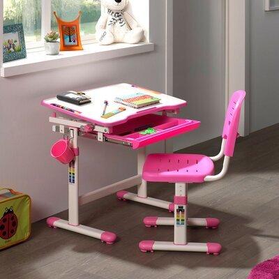 Bureau 66,4x47,4x54/76 cm et chaise blanc et rose - LUFFY