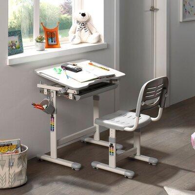 Bureau 66,4x47,4x54/76 cm et chaise blanc et gris - LUFFY