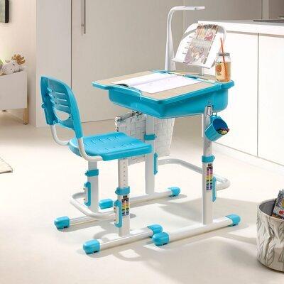 Bureau 70 cm, chaise et lampe blanc et bleu - LUFFY